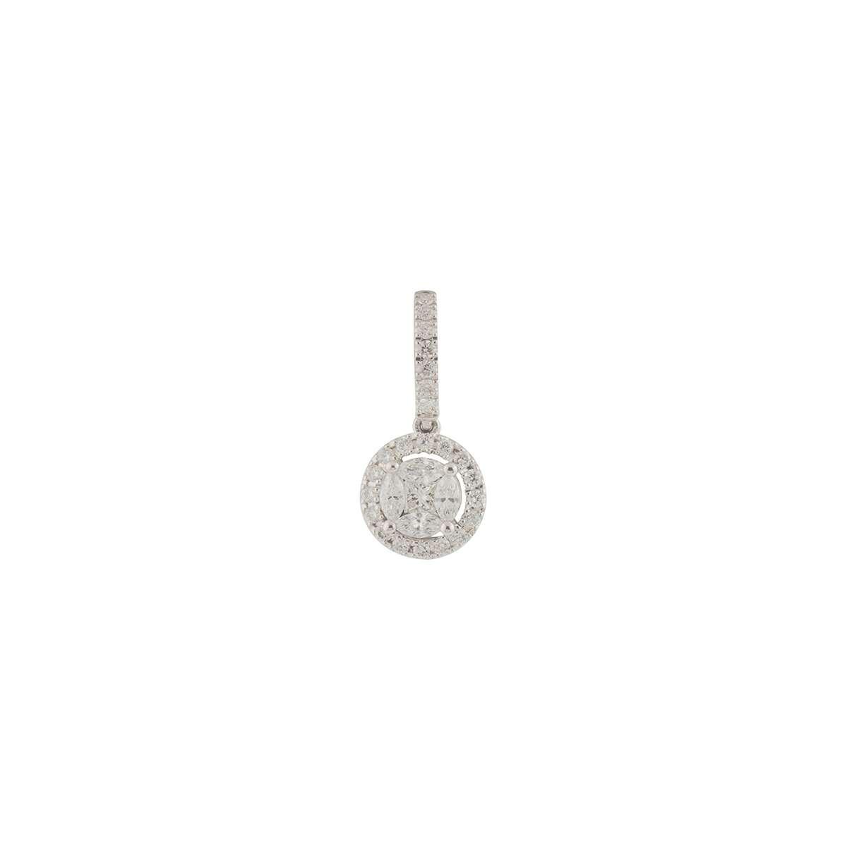 White Gold Diamond Cluster Pendant 0.45ct G-H/VS-VVS